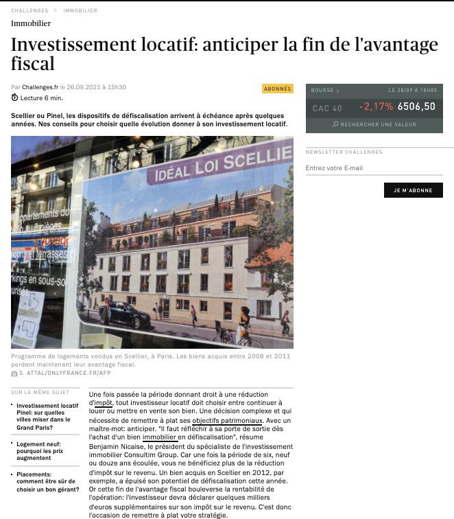 revue de presse Groupe Quintésens interview Challenges