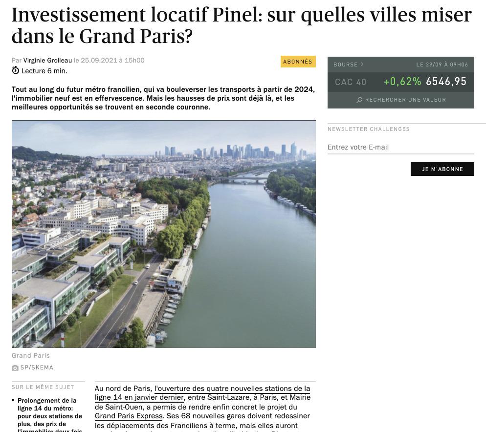 Revue de presse Challenges Pinel Groupe Quintésens